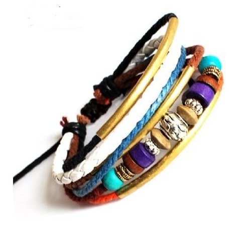 jewelry unisex bracelet punk rock Bracelet Cuff with cotton ropes ,wood beads tibetan silvery colour SL2333