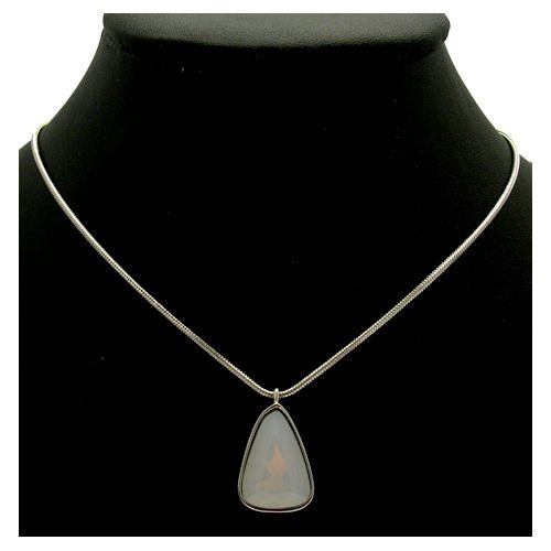 Acosta - Dusky Rose Pink Stone - Dainty Moonstone Effect Necklace (Silver Coloured) - Gift Boxed