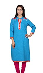 Blue Embroided 3/4 Sleeves Kurta
