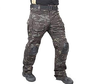 Tactique militaire de l'armée de tournage EDR hommes Gen3 G3 Combat Pantalons Pantalon avec genouillères pour Airsoft Multicam Noir