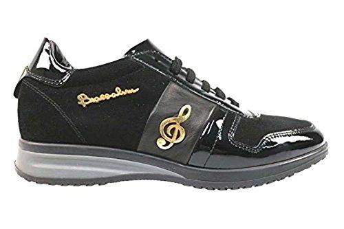 Scarpe donna BRACCIALINI 35 sneaker nero camoscio / pelle AN46-C