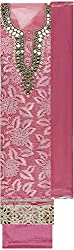 Preety Women's Net Semi Stitched Dress Material (PW045, Pink)