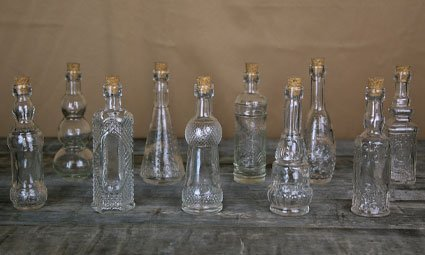 Vintage Glass Bottles with Corks, Assorted, 5 inch, Set of 10, Clear 1