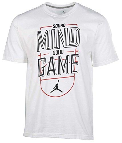 Jordan Men's Nike Sound Mind Solid Game T-Shirt-White/Black-Large Mind Games T-Shirt