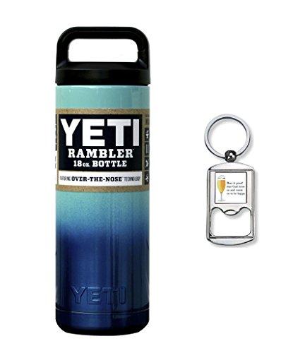Custom Powder Coated, Yeti Coolers, New Rambler Insulated Water Bottle, 18 Oz (Seafoam Blue Ombre Fade)