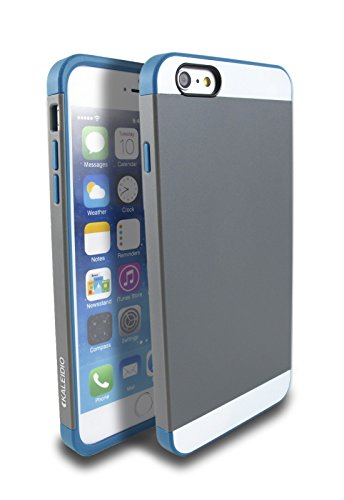"Kaleidio TM [Colour Series] Multi Tone Dual Layer Protective Case for Apple iPhone 6 Plus / 6S Plus (5.5"") [Package Includes a Overbrawn Prying Tool] - Retail Packaging [Charcoal/Teal Blue]"