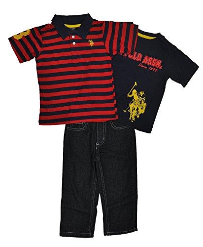 Us Polo Assn Little Boys Striped Polo 3Pc Denim Pant Set (3 Colors Available) (4T, Classic Navy Blue)