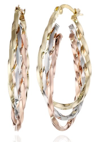 Duragold 14k Tri-Color Triple Oval Hoop Earrings, (1″ Diameter)