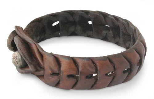 Women's Brown Leather Wristband Bracelet, 'Waves'