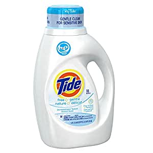 Tide Free and Gentle High Efficiency Unscented Detergent, 50 Ounce (Pack of 2)