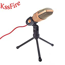 KssFire® Professional Condenser Sound Podcast Studio Microphone For PC Laptop Computer (Golden)