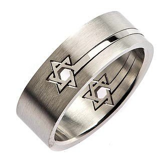 Star of David Puzzle Ring 316L Surgical Grade Stainless Steel 8mm Size 13.5