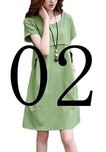 Yidarton かわいい 綿麻 レディース ワンピース チュニック 半袖 ひざの上 開ネット (XL, 02グリーン)
