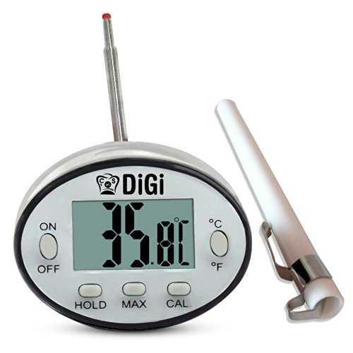 Best Digital Meat Thermometer With Large Lcd - Thin Probe Gives Instant Read - Easy To Clean Waterproof Stainless Steel Body - Auto Off Power Saver - Use Outdoor For BBQ Or Indoor To Grill Your Favourite Foods - Battery Installed ★ Digi For 100% Money Bac