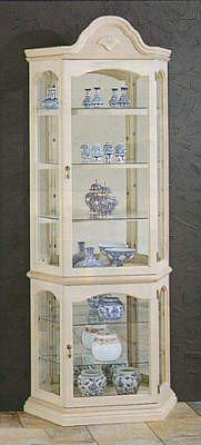 Cheap White Washed Finish Wood Curio China Cabinet w/Mirror Back (VF_5506)