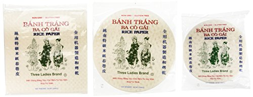 Three Ladies Spring Roll Rice Paper Wrappers (Multi-size 3pks) (Ba Co Gai compare prices)