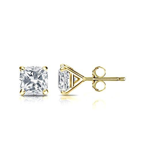 Igi Certified 18K Yellow Gold Cushion Cut Diamond Stud Earrings Martini (1 Cttw, G-H, Vs2-Si1)