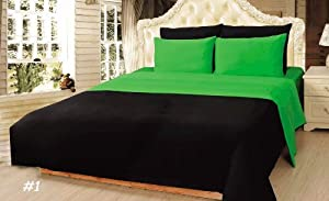 Tache 4 piece 100 cotton solid lime green - Black and lime green bedding ...