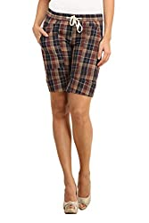 Ladybug Women Casual Check Shorts in Brown