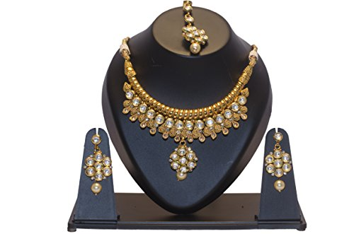 Chirag Jewellery Traditional Antique Gram Gold Plated Kundan Necklace Set With Earrings CJTAGGKNS011