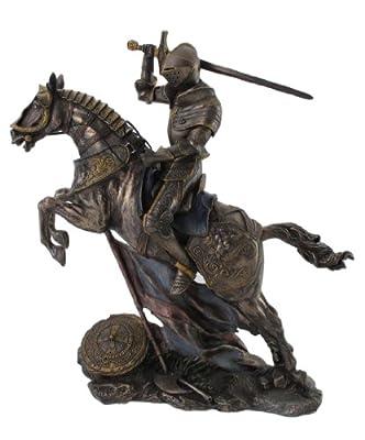 "Medieval Knight on Battle Horse Statue Figure 10.5"" Bronzehue"