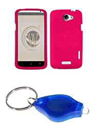 Hot Pink Gel Skin Case + Atom LED Keychain Light for HTC One X (AT&T)