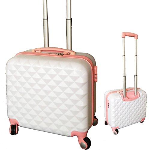 ダイヤモンド スーツケース キャリーバッグ かわいい [1005] 超軽量 17インチ キャリーケース おしゃれ 旅行かばん (ホワイト)