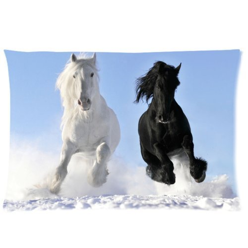 """Natural Beautiful And Attractive Design Horse Custom Zippered Pillow Case 20""""X30"""" (One Side)-Animal Horse front-1010819"""