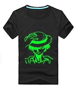 Luffy Noctilucent Glow in Dark Pattern Couples Womens T-shirt Color Black Size L