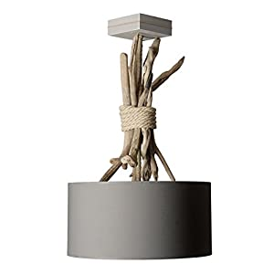 Suspension luminaire en bois flotté gris: Cuisine & Maison