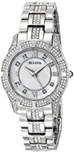 Bulova Women's 96L116 Stainless Steel and Mother-of-Pearl Swarovski Crystal-Accented Watch