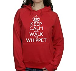 Keep calm and walk the Whippet womens hooded top pet dog gift ladies Red hoodie white print