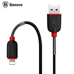 Baseus 1m Super Stretchy Lightning Compatible Charging Cable For iPhone6S / Plus / 5s / iPad Air/iPad mini2/3 -Black&Red