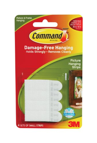 Command Small Picture Hanging Strips, White, 4-Strip, 9-Pack front-375639