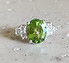 buy Peridot Engagement Ring- Anniversary Ring- Promise Ring- August Birthstone Ring- Unique Engagement Ring- Gemstone Ring