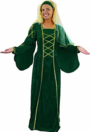 LADIES TUDOR MEDIEVAL QUEEN FANCY DRESS COSTUME. THIS RENAISSANCE VELOUR DRESS IS AVAILABLE IN GREEN OR MAROON AND COMES WITH A MATCHING HEADPIECE (GREEN, 10-14). MANUFACTURED BY ILOVEFANCYDRESS.