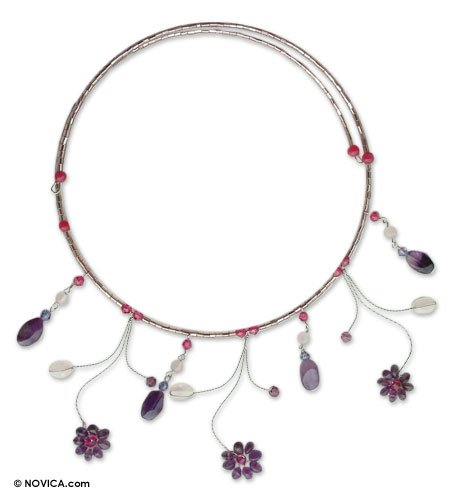 Amethyst and rose quartz choker, 'Jungle Stars'