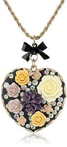 "Betsey Johnson ""Fabulous Flowers"" Flower Heart Long Pendant Necklace, 32"""