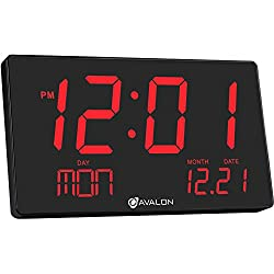 Avalon Extra Large Display Red LED Oversized Digital Wall/Shelf Clock With Easy View Technology, UL Approved
