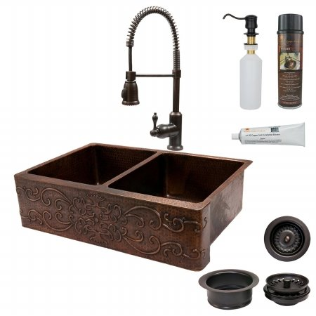 Premier Copper Products KSP4-KA50DB33229S 33 in. Kitchen Apron 50-50 Double Basin Sink with Spring Pull Down Faucet - Scroll Design