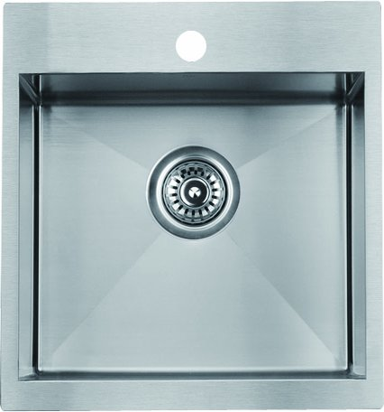 "19"" Premium Zero Radius Single Bowl Top Mount 16 Gauge Stainless Steel Bar / Kitchen Sink With Strainer - Fits 18"" Base Cabinet"