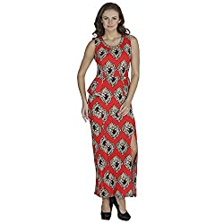 SVT Ada Collections Poly viscose Red printed peplum dress (00401S_Red_Small)