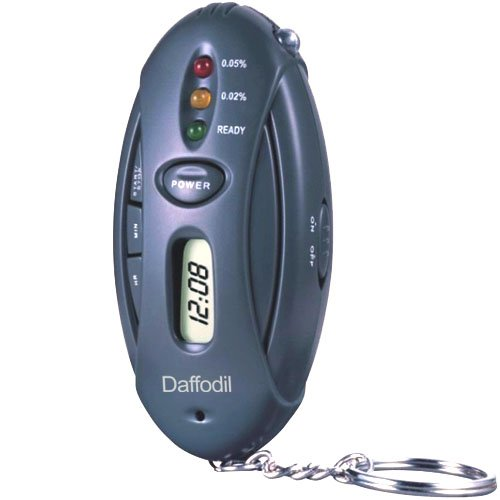 Daffodil HPC100 Keyring Breathalyser - Digital Alcohol Breath Tester with LED Torch and Timer
