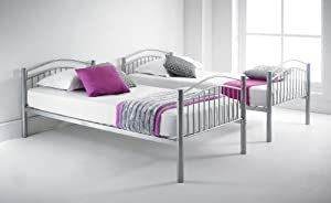 Happy Beds Capri Silver Finished Quality Metal Bunk Bed Frame