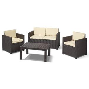 allibert 189225 lounge set victoria set rattanoptik kunststoff braun beste angebot. Black Bedroom Furniture Sets. Home Design Ideas