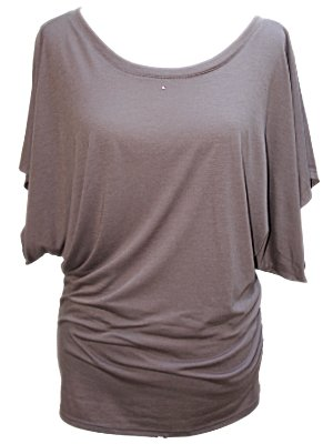 Colours Apparel Crystal Scoop Neck Dolman Sleeve Loose Fit Blouse Jersey Tee (Small, Cappuccino)