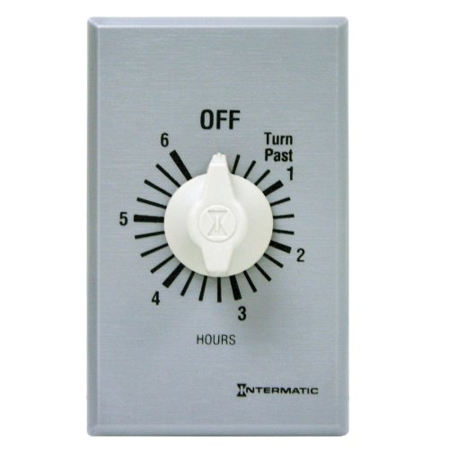 Intermatic Ff6H 6-Hour Spring Loaded Wall Timer, Plastic W/ Brushed Metal Effect