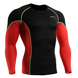emFraa Homme Femme MMA Sport Compression Black Tight Base layer T-Shirt Long sleeve S