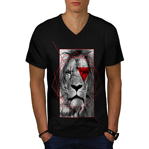 geometrico Leone Reale Rosso Uomo Nuovo Nero L T-Shirt | Wellcoda