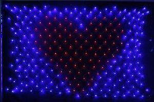 LEDイルミネーション、LEDハートネットライト、マルチ(青、赤)LED247球、2mx1m、点滅、連結可